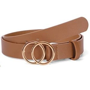 Women's  Gold O Ring Buckle Faux Leather Belt